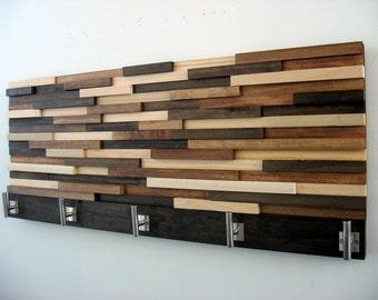 Modern Wood Coat Rack, Rustic Coat Rack, Modern Coat Hooks, Home Decor, Wood Wall Art, Towel Rack 12x36