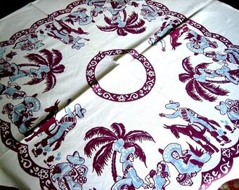 RETRO Vintage Cotton Sailcloth Print TABLECLOTH Mexican South West Cowboys White Blue Purple