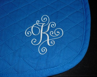 English All Purpose Saddle Pad-Custom-Scroll Embroidered Initial