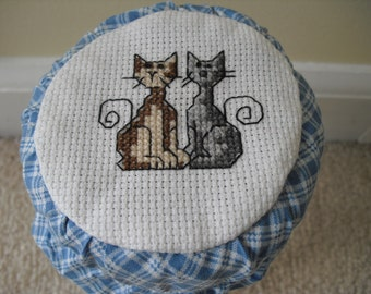 Mason Jar with Counted Cross Stitch of 2 Cats