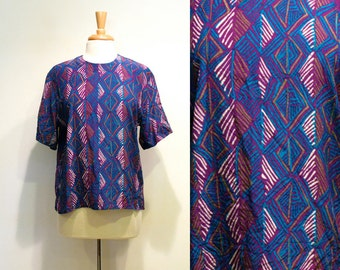 Vintage Purple Geometric Silk Print Top
