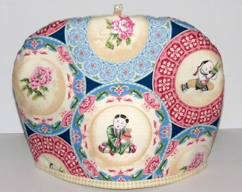 Tea Cozy, Japanese China Plates,  Rose and Blue with Yellow Gingham