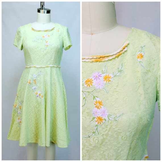 Sweet Lolita Dress / Modernized Vintage 60s Lace Dress / Pastel Acid Green Dress / Floral 1960s Lace Dress / Fit and Flare Lace Dress