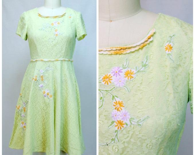 Sweet Lolita Dress / Modernized Vintage 60s Lace Dress / Pastel Acid Green Dress / Floral 1960s Lace Dress / Fit and Flare Lace Dress
