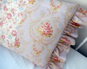 Soft Shabby Chic  Tones with Pink Roses and Lilacs Pillow So Romantic Style