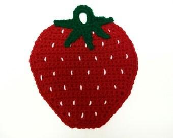 Strawberry Potholder Pot holder Fruit Hot Pad Trivet Crochet Housewarming Kitchen Wall Decor Gift Handmade