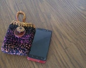 Multicolored cell phone pouch/ crocheted cell phone holder
