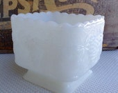 Vintage Milk Glass Square Pedestal Compote Grape Pattern Planter Vase