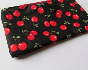 Black and Red Cherry Print Purse