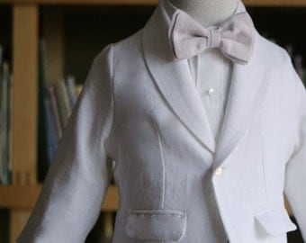 White dinner coat suit jacket for baptism first communion christening special occasion