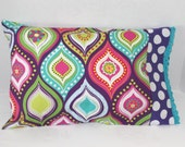 Toddler Pillowcase Fits 12 x 16 Pillow Girls Colorful Purple Aqua Travel Size Pillow Cover Crochet Edge