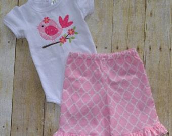 Baby bodysuit ruffle capri pant set.