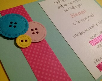 Cute as a button birthday or baby shower invitations, button baby announcements - Set of 8