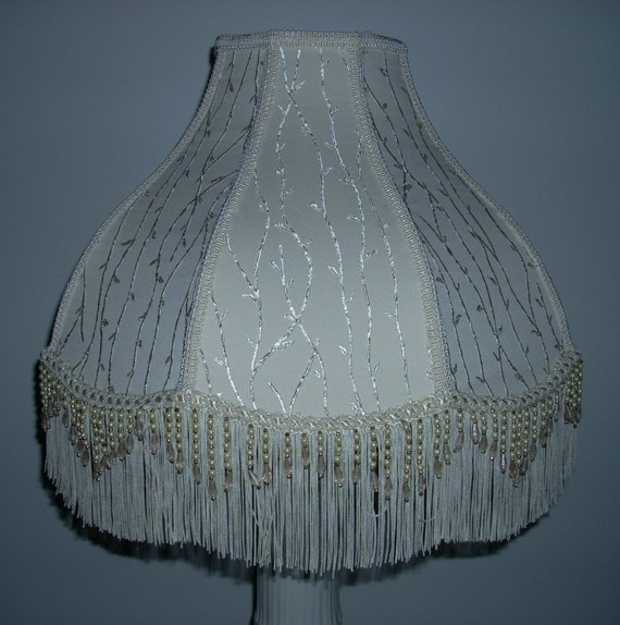 ivory lamp shade with beaded fringe. Black Bedroom Furniture Sets. Home Design Ideas