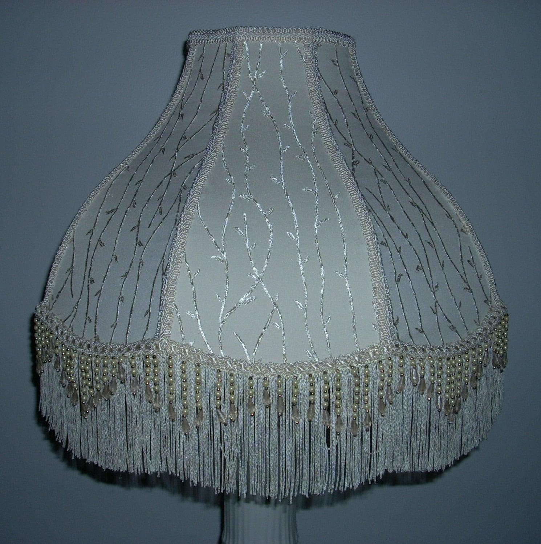 Ivory Lamp Shade With Beaded Fringe