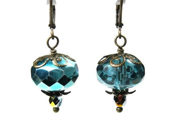 Aqua Marine Vintage Style Czech Glass Dangle Earrings, Teal Sparkling Metallic Earrings, Affordable Antiqued Brass Jewelry Gift Ideas