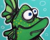 RoCK tHA oVERBiTe  - 12x16 original acrylic painting on canvas , fish art, fish painting