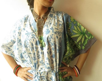 White Blue Leafy Kaftan - Pajamas to live in, beachwear Caftan, spa robe..make great Anniversary or Birthday gifts, new mom Gift