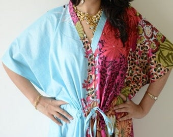 Light Blue Nursing Maternity Hosptial Gown Delivery Kaftan-Perfect as loungewear as getting ready as beachwear, gift for moms and to be moms