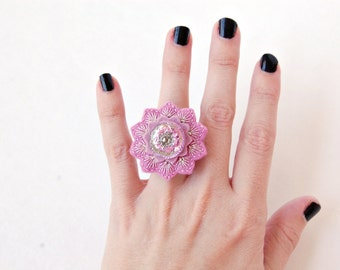 Glass Button Embroidered Ring