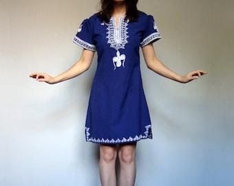 80s Blue White Ethnic Mini Dress Boho Simple Summer Day Dress Casual Sundress - Extra Small XS S