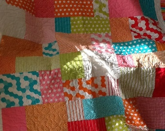 Bright Colored Blocks Quilt