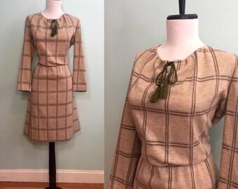 ON SALE Vintage 1970's Tan Plaid Kay Windsor Dress Size Large