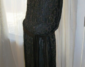 Antique Authentic 1920s Sheer Jet Beaded Silk Chiffon Flapper Dress Made in France Size S/M Good Cond Gorgeous