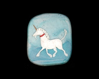 Unicorn Jewelry: Unicorn at a Trot Pin or Pendant. Original Bas-Relief Sculpture. Aqua, White, Red and Gold. 3773