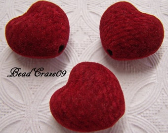 10 Pieces Wonderful Flocked Red Heart Beads, Chunky Flocked Red Beads, Valentine's Heart Beads, Gumball beads