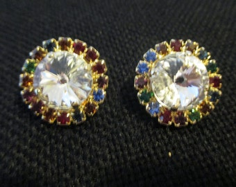 VINTAGE COSTUME JEWELRY  //  rhinestone earrings