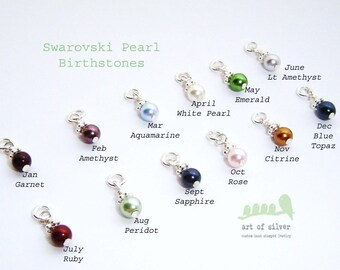 ADD A CHARM- Pearl birthstones - Swarovski pearl ...add colors to your necklace/bracelet or  earrings