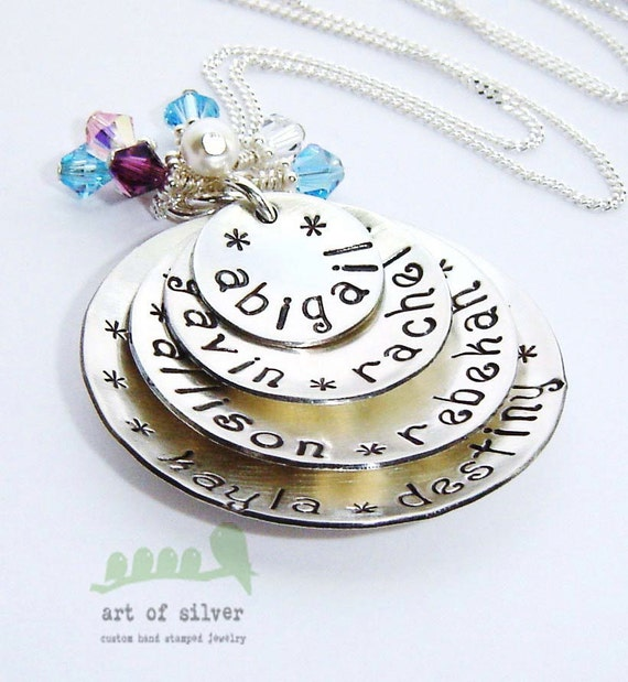 Handstamped grandma  necklace - birthstone jewelry - personalized charm 7 names in domed discs