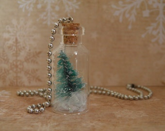 Necklace, Charm Bottle on Ball Chain, Christmas Tree Evergreen