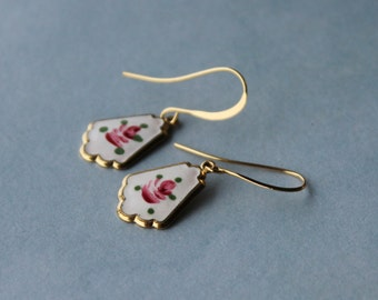 Vintage Guilloche Enamel Charms earrings, fan shape, rose.