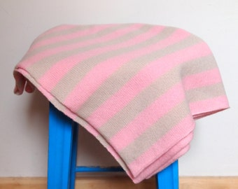 Sale - Knitted British Lambswool Pink and Beige Striped Baby Blanket