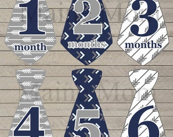 FREE GIFT, Baby Boy Tie Monthly Stickers, Baby Month Stickers, Navy, Gray, Grey,  Photo Prop. Tribal Arrow Nursery Decor Just Born Sticker