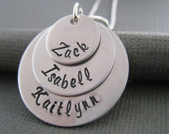 Hand Stamped Necklace - Personalized Sterling Silver Jewelry - Mother's Jewelry - Mommy Necklace - Three Stack