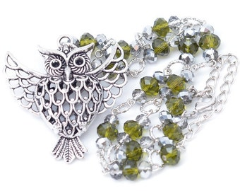 Cyber Monday Christmas Gift Owl and Olivine Green Necklace