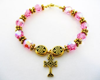 October Rose Pink SWAROVSKI Crystal Single Decade Gold Celtic Knot Irish Rosary Bracelet