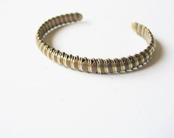 Chic bohemian 1970s brass, copper and silver plated open backed statement bangle bracelet
