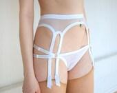 Estelle Garter Belt, white  mesh - Kayleigh Peddie