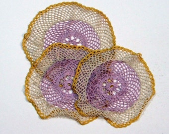 Collection of Three Crochet Doilies, 3 Matching Doilies, Lilac,Gold, Cream