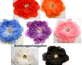 """1 pc 4"""" Peony Large Flower Hair Clip with 1"""" Round Clear Crystal * You Choose Color Red Orange Blue Purple Pink White Black"""