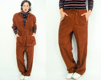 Vintage 80's MATCHING SET Super Soft Suede Leather Tracksuit / Comfy Track Pants + Drawstring Jacket 2 Piece Set / Leather Joggers