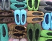 Shades of green... Wool Felted Stull slippers ... Ready to ship