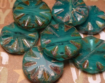 Teal and Aqua Swirl Starburst Glass Beads 17mm - 2pc