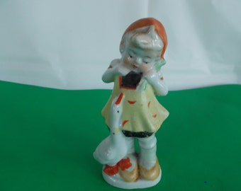 Vintage Small Ceramic Girl With Goose Figurine