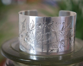 Antique Assemblage Silver Cuff Bracelet with Birds and Flowers