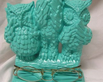 Hear No Evil, See No Evil, Speak No Evil Owl Desk Decor Eyeglass Holder